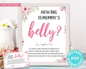 How Big is Mommy's Belly Sign Printable, Baby Shower Game Template, Funny Baby Shower Activity, Pink Flowers, Frame, Girl, INSTANT DOWNLOAD