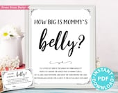 How Big is Mommy's Belly Sign Printable, Baby Shower Game Template, Funny Baby Shower Activities, Rustic, Frame or Fold, INSTANT DOWNLOAD