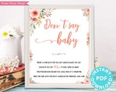 Don't Say Baby Sign Printable, Baby Shower Game Template, Funny Baby Shower Activities, Peach Flowers, Frame or Fold, Girl, INSTANT DOWNLOAD