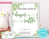 Eucalyptus Diaper Raffle Tickets and Sign Printable, Baby Shower Game Template, Baby Shower Activity, Frame, Neutral, INSTANT DOWNLOAD