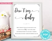 Don't Say Baby Sign Printable, Baby Shower Game Template, Funny Baby Shower Activities, Rustic, Frame or Fold, INSTANT DOWNLOAD
