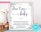 Don't Say Baby Sign Printable, Greenery & Purple Baby Shower Game Template, Funny Baby Shower Activities, Frame, Baby Girl, INSTANT DOWNLOAD