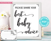 Mom Advice Card & Sign Printable, Best Baby Advice for Mom, Baby Shower Game Template, Rustic, Frame, Fold, New Mom, INSTANT DOWNLOAD