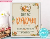 Woodland Baby Shower Don't Say Baby Sign Printable, Game Template, Baby Shower Activities, Rustic Forest Animals, Frame, INSTANT DOWNLOAD