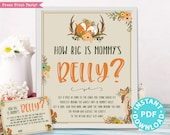 Woodland Theme How Big is Mommy's Belly Sign Printable, Baby Shower Game Template, Activities, Frame, Forest Animals, Fox, INSTANT DOWNLOAD