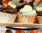 Orange Cream Birthday Party Decor Printable Set, Peach Party Decor, Orange Dots, Birthday Invitation, Monogram, Initials, INSTANT DOWNLOAD