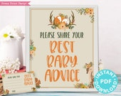 Woodland Baby Shower Mom Advice Card & Sign Printable, Best Baby Advice for New Mom, Template, Rustic Forest Animal, Frame, INSTANT DOWNLOAD