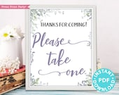Please Take One Sign Printable, Greenery & Purple Baby Shower, Wedding, Bridal Shower Favors Sign, Birthday, Rustic, Frame, INSTANT DOWNLOAD
