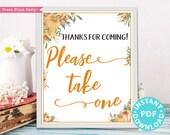 Little Pumpkin Please Take One Sign Printable, Baby Shower sign, Bridal, Favors Sign, Template, Fall Rustic, Frame or Fold, INSTANT DOWNLOAD