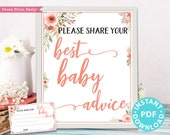 Mom Advice Card & Sign Printable, Best Baby Advice for Mom, Baby Shower Sign Template, Peach Flowers, Frame, New Mom, Girl, INSTANT DOWNLOAD