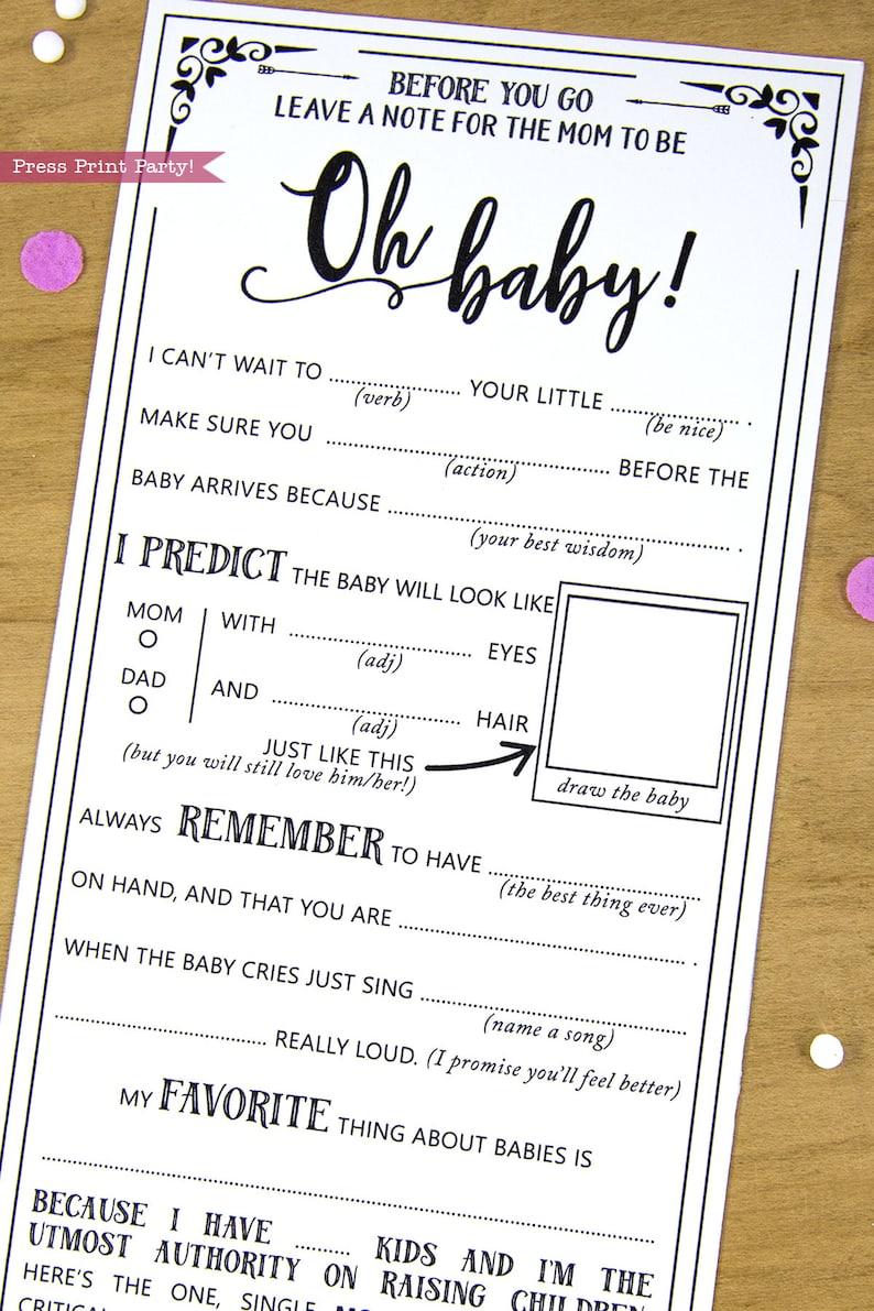 Baby Shower MadLibs Advice Card Boho Baby Shower Gender image 0