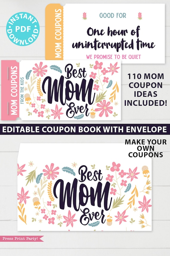 Mom Coupons Book Printable Mother's Day Coupon Book