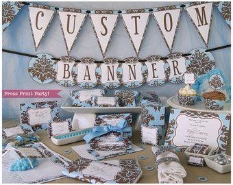 Blue and Brown Baby Shower Decorations Printable set, Boy Baby Shower Invitation, Baby Shower games, Damask Western Banner, INSTANT DOWNLOAD