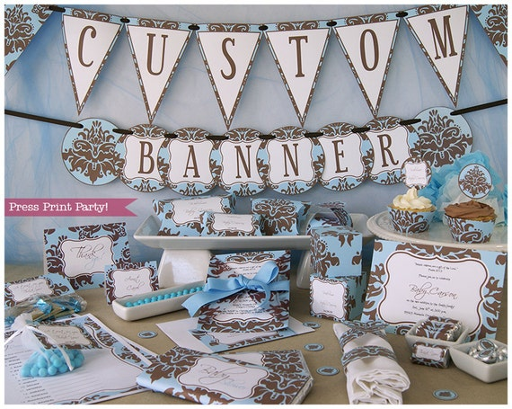 Blue And Brown Baby Shower Decorations Printable Set Boy Baby Etsy