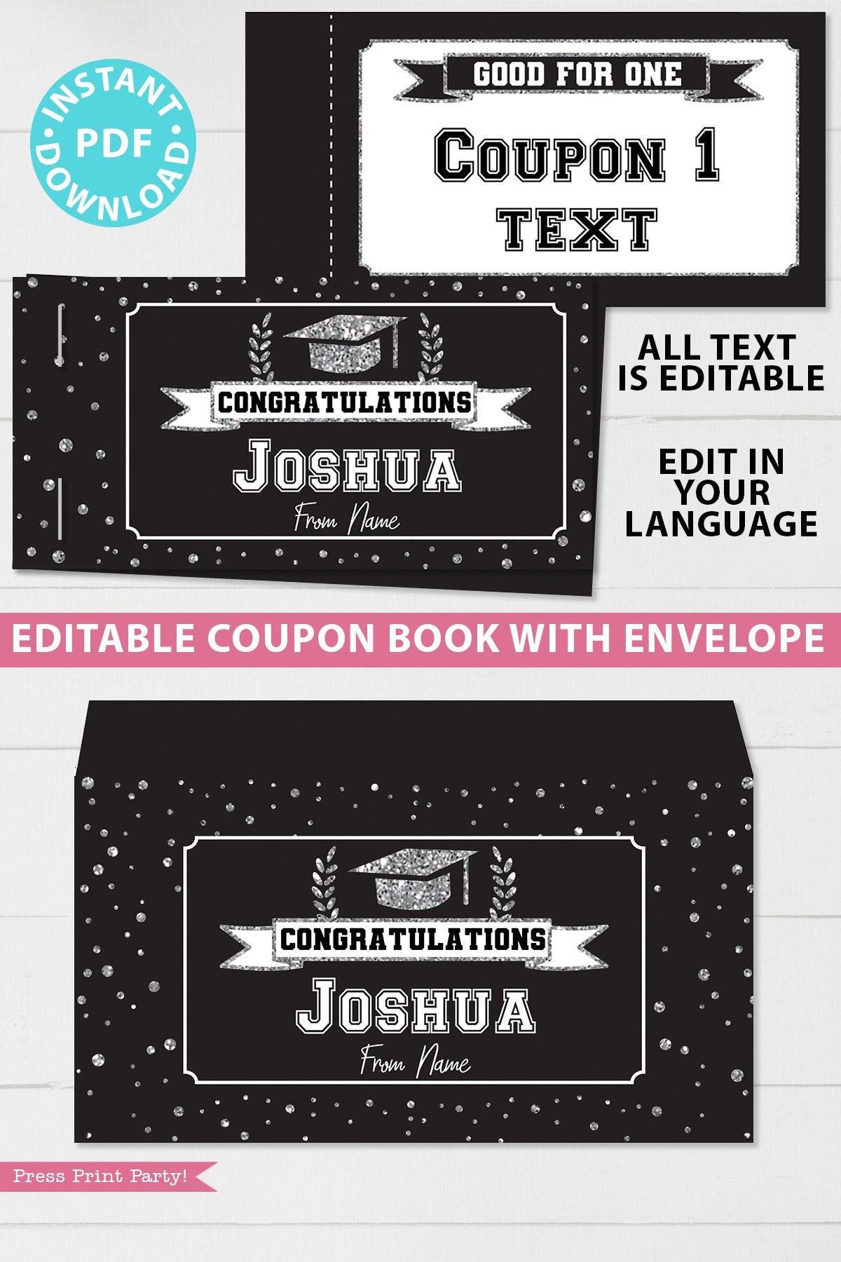 Editable Graduation Coupon Book Template Printable Gift Idea  Etsy Pertaining To Blank Coupon Template Printable