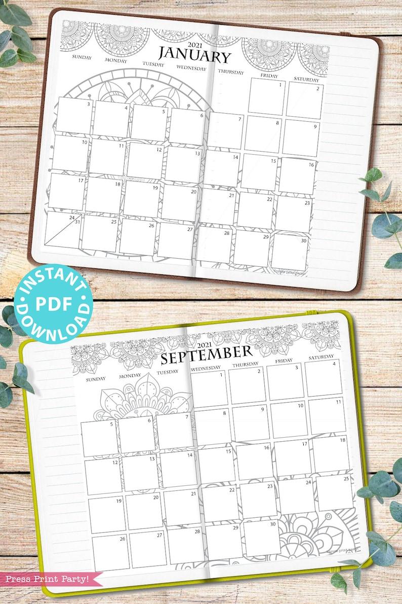2021 Calendar Template Printable Set Mandala Bullet ...