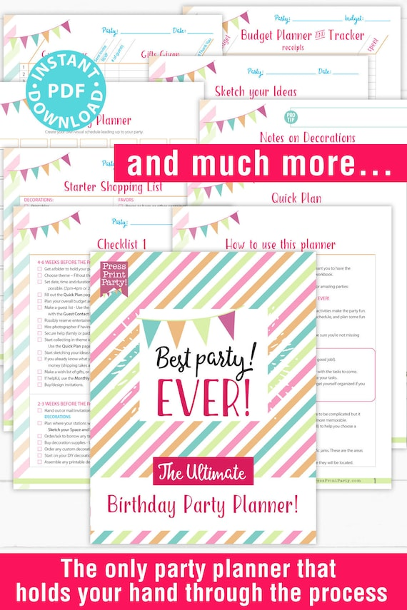 Ultimate Birthday Party Planning Checklist And Templates Birthday Party Checklist Party Planning Template Event Planner Instant Download By Press Print Party Catch My Party