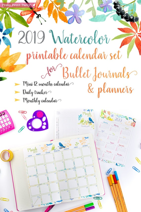 2019 Calendar Printable Set For Bullet Journals And Planners Etsy