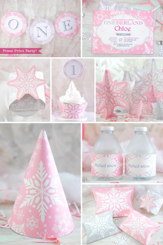 Winter ONEderland Party Decorations Printable Pack, Pink and Silver  Snowflakes, Girl First Birthday Party, 9st birthday, INSTANT DOWNLOAD