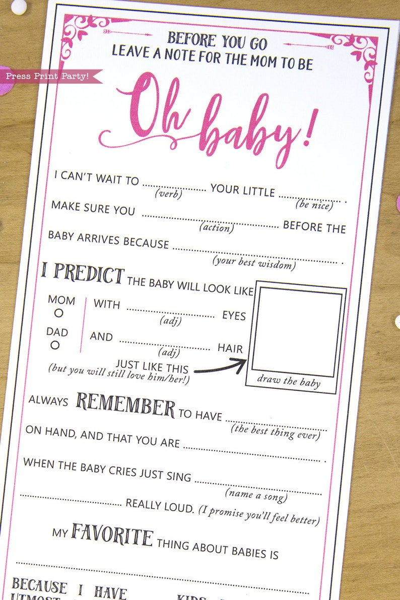 photo regarding Baby Shower Mad Libs Printable Free named Child Shower Ridiculous Libs Tips Card, Little one Woman, Very hot Red, Mother-toward-be Amusing Suggestions Card, Kid Shower Video games, Oh Little one, Match, Instantaneous Obtain