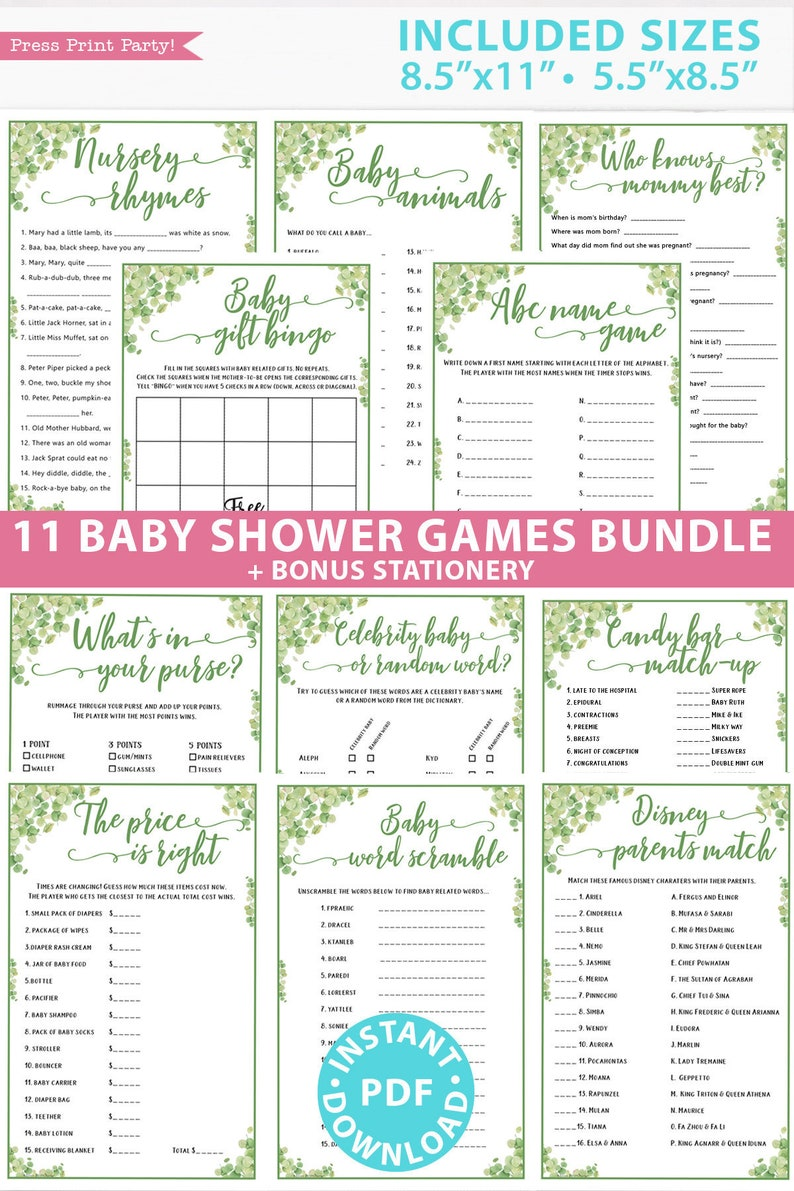 Eucalyptus Baby Shower Games Bundle Printable Games Pack image 0
