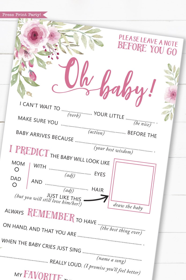 Baby Shower Mad Libs Printable Baby Shower Games Advice image 0