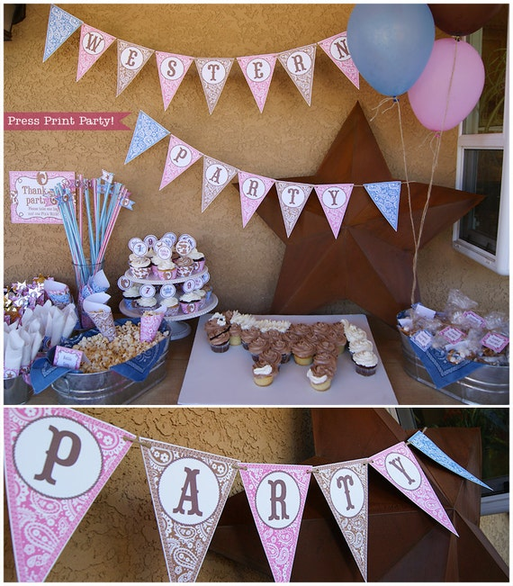 Cowgirl Birthday Party Printable Set Cowgirl Party