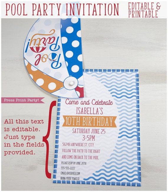Pool Party Invitation For Kids Splish Splash Beach Ball Etsy