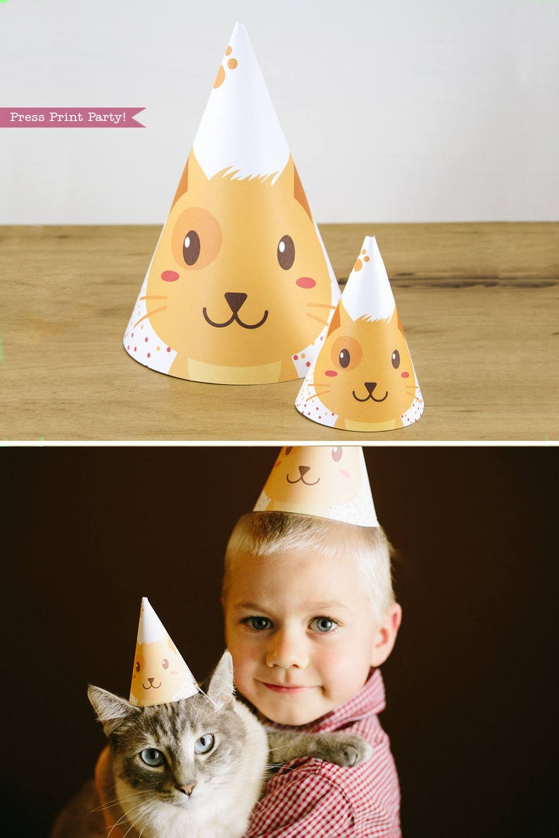 Cat Hat Printable Party Kitten Decor Birthday Kitty Tabby