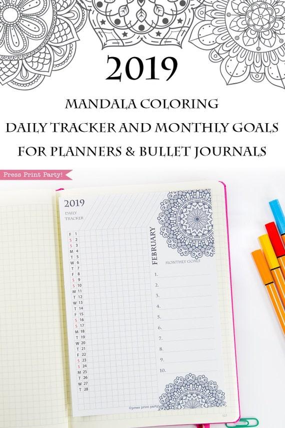 2019 task tracker printable monthly goal tracker daily task etsy