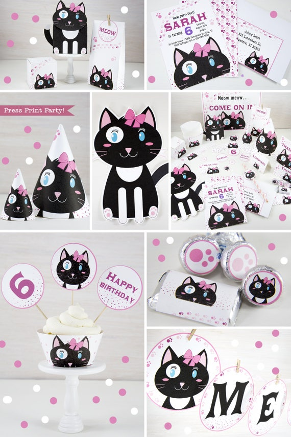 Kitten Party Printables Cat Decorations Birthday