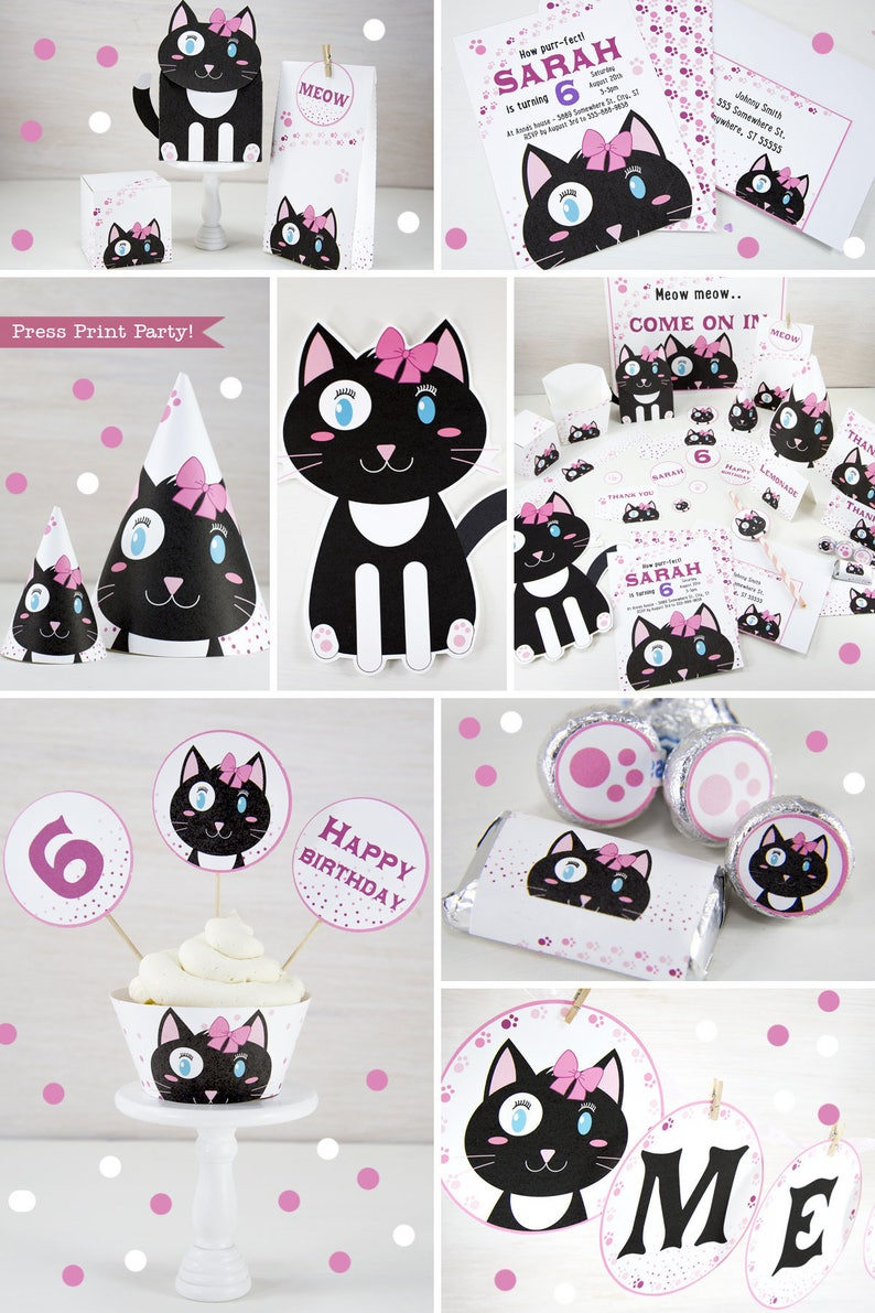 Kitten Party Printables Cat Decorations Birthday Kitty Invitation Black And White Girls Idea Girl
