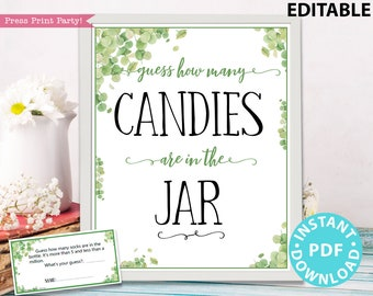 Eucalyptus Guess How Many Game Sign Printable, w Editable Text for Items & Container, Baby Shower Game Template, Frame, INSTANT DOWNLOAD