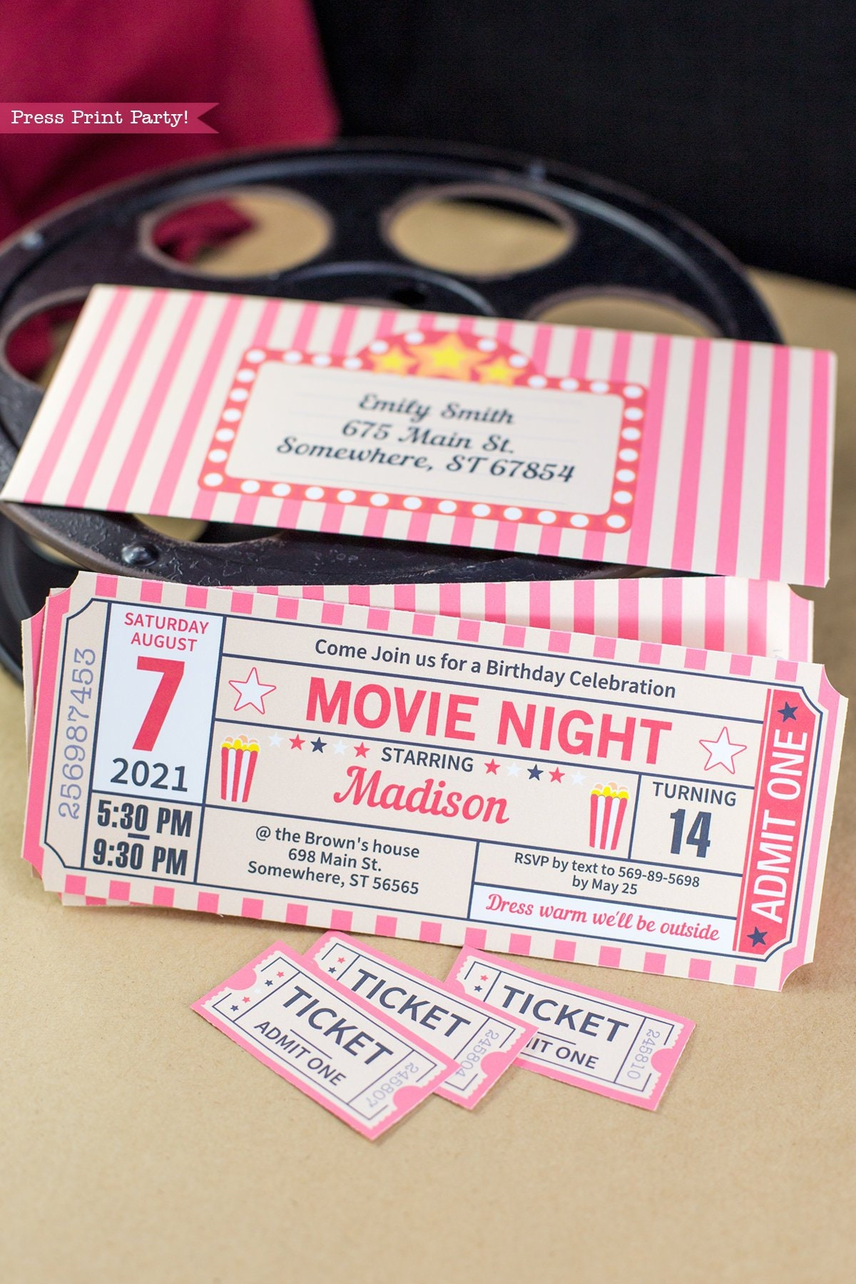 movie night invitation printables movie ticket stub invite