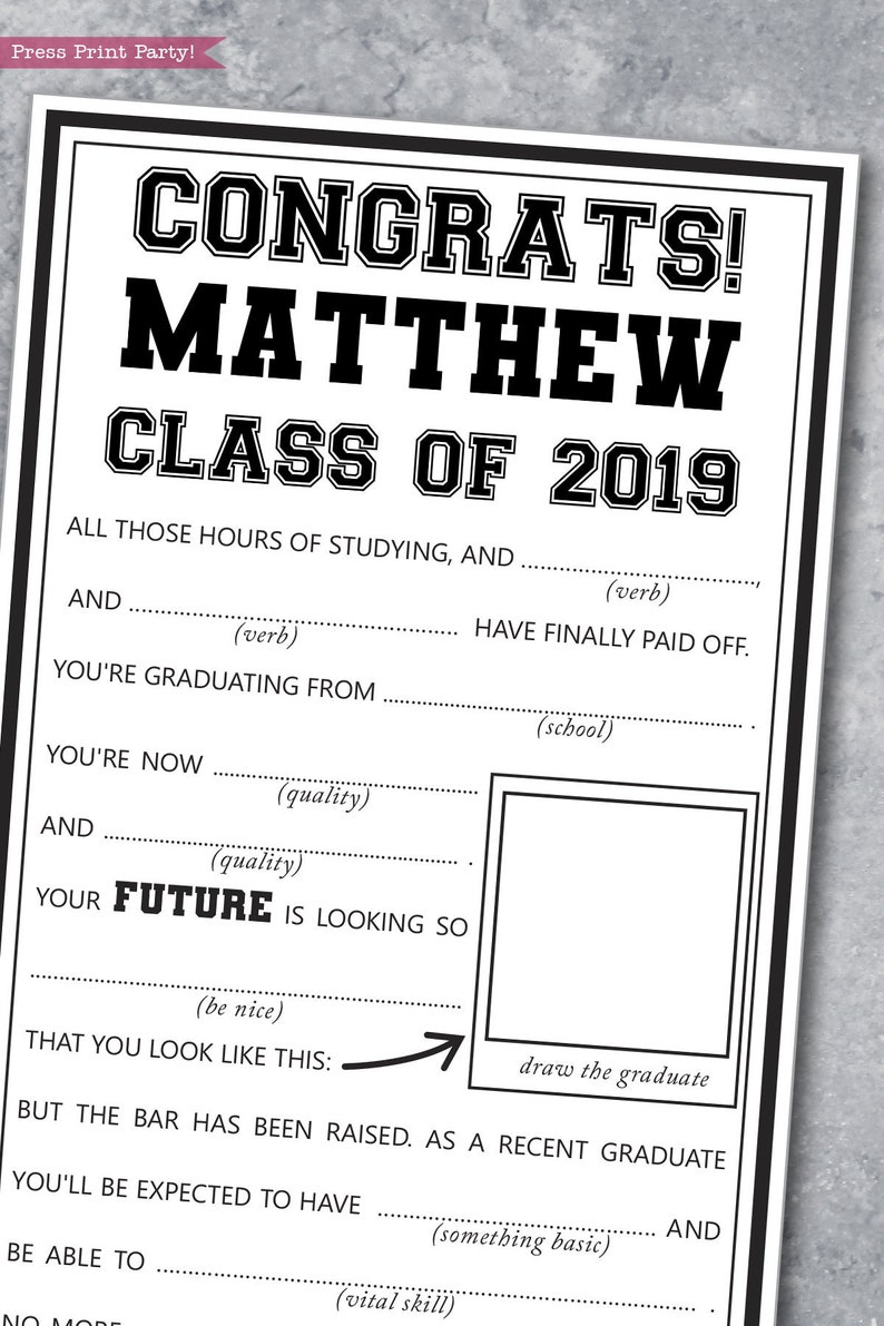 photo about Mad Libs Printable named Commencement Crazy Libs Printable, Guidance Card, Significant Higher education Commencement Get together Options, Get together Video game, Grad Bash Online games, Instantaneous Obtain