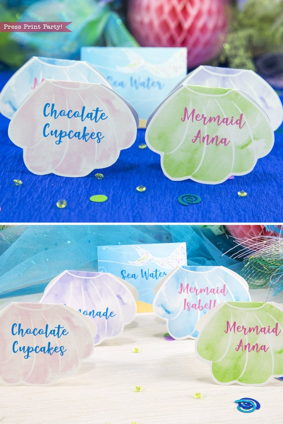 Mermaid Place Cards Party Decorations Printable Food Tents Birthday Under The Sea INSTANT DOWNLOAD
