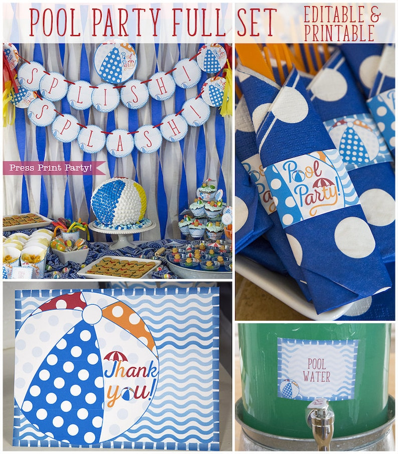 Pool Party Decorations Birthday Decor Swimming