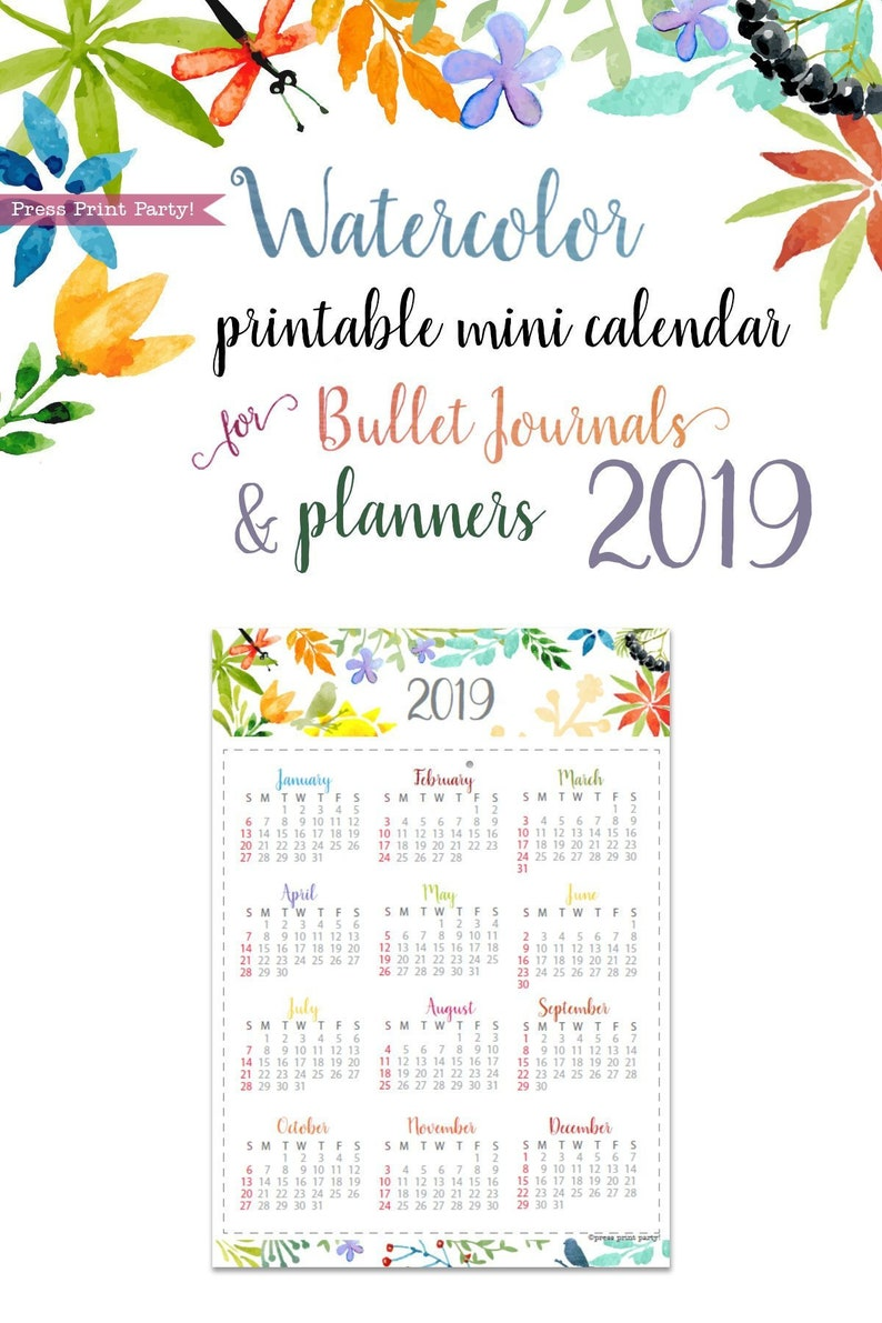 image relating to Bullet Journal Calendar Printable named 2019 Mini Calendar Printable, Watercolor, Bullet Magazines Planners, 2019 Calendar, Bullet Jounal web page, Bujo, At a seem, Fast Obtain