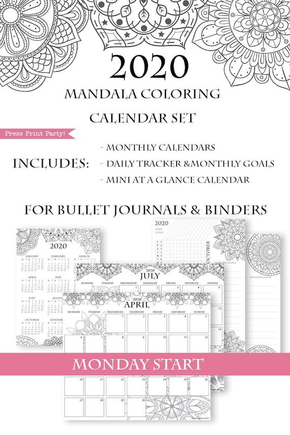 monday start  2020 calendar template printable set