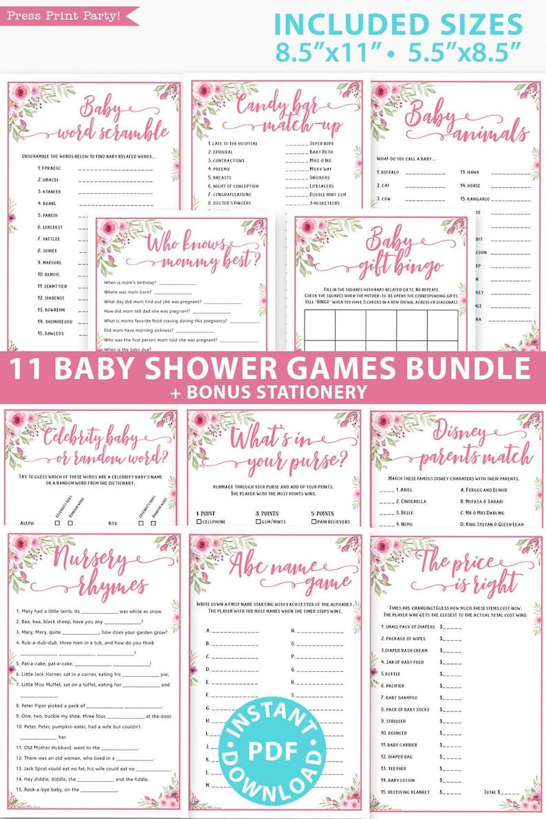 Baby Shower Games Bundle Printable Pink Flowers Games Pack image 0