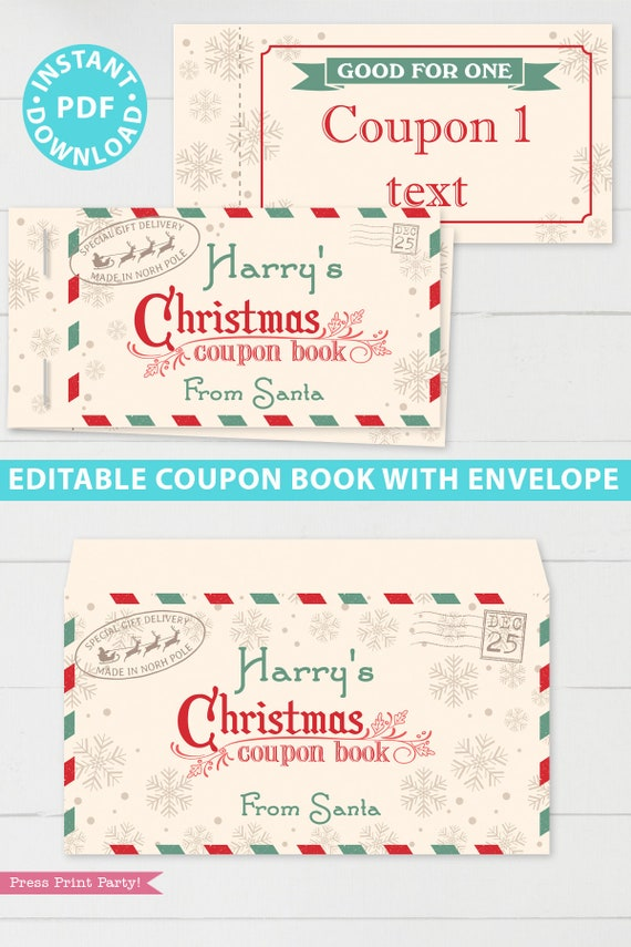Editable Christmas Coupon Book Printable Template Fun Gift Etsy
