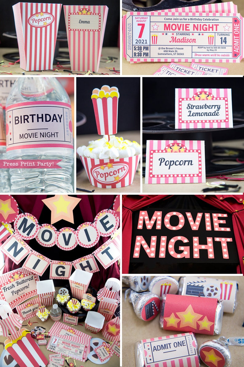 Movie Night Party Printables RED vintage Movie Night image 0
