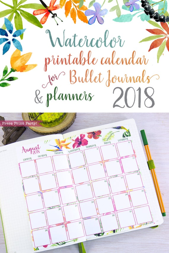 2018 monthly calendar for bullet journals and planners printable