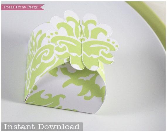 Flower Favor Box Light Green Damask Printable Flower Treat Box