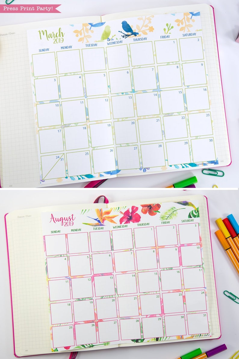 2019 Monthly Calendar for Bullet Journals and Planners, Printable 2019  Calendar, Daily Planner, Bujo, Bullet Journal Pages, INSTANT DOWNLOAD
