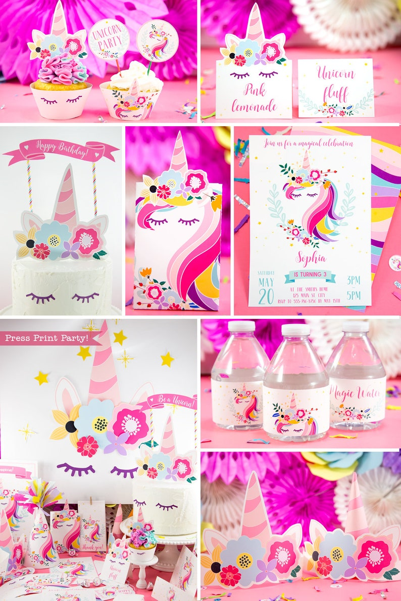 Unicorn Party Package Magical Birthday Invitation