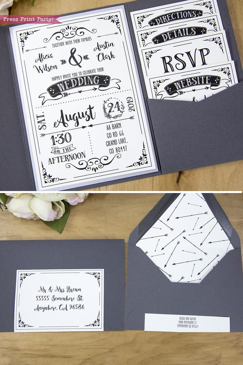 Rustic Wedding Invitation Template Download Printable Pocket Bundle Boho INSTANT DOWNLOAD