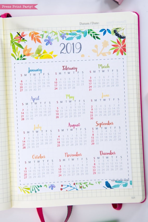 2019 Mini Calendar For Bullet Journals Planners Printable Etsy