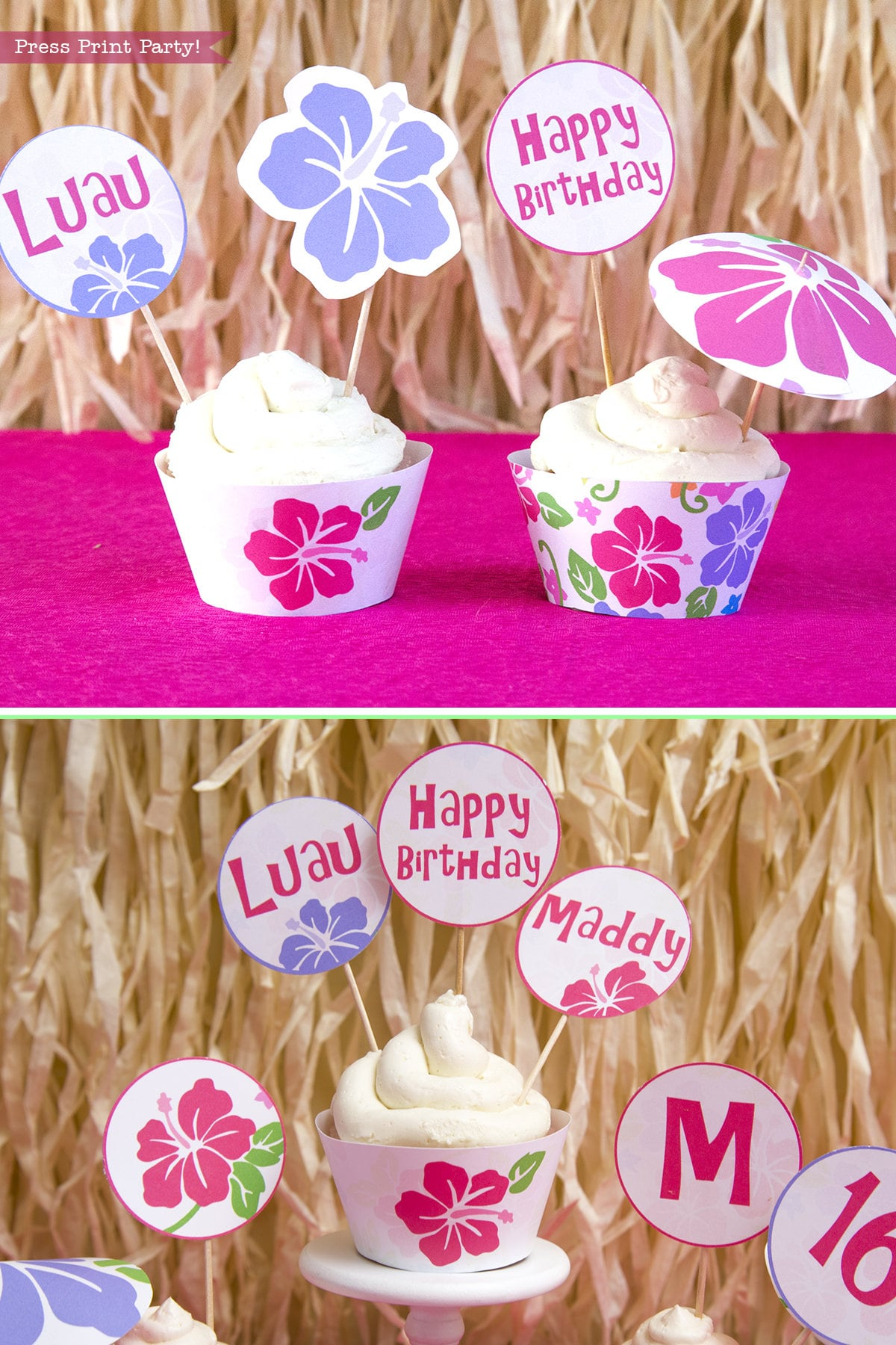 Luau Cupcake Toppers Printable Luau Cupcake Wrappers | Etsy