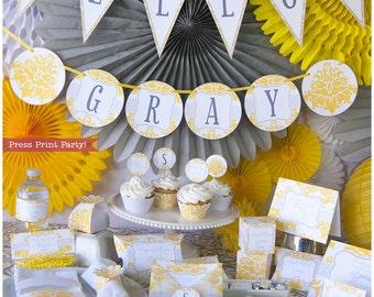 Yellow & Gray Baby Shower Decorations Printable Set, Gender Neutral Baby Shower, Unisex, Shower Invitation, w. Bonus Games, INSTANT DOWNLOAD